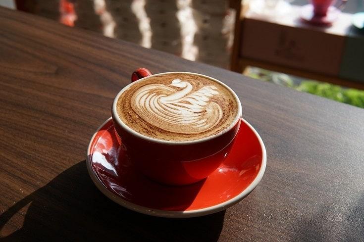 latte on red mug