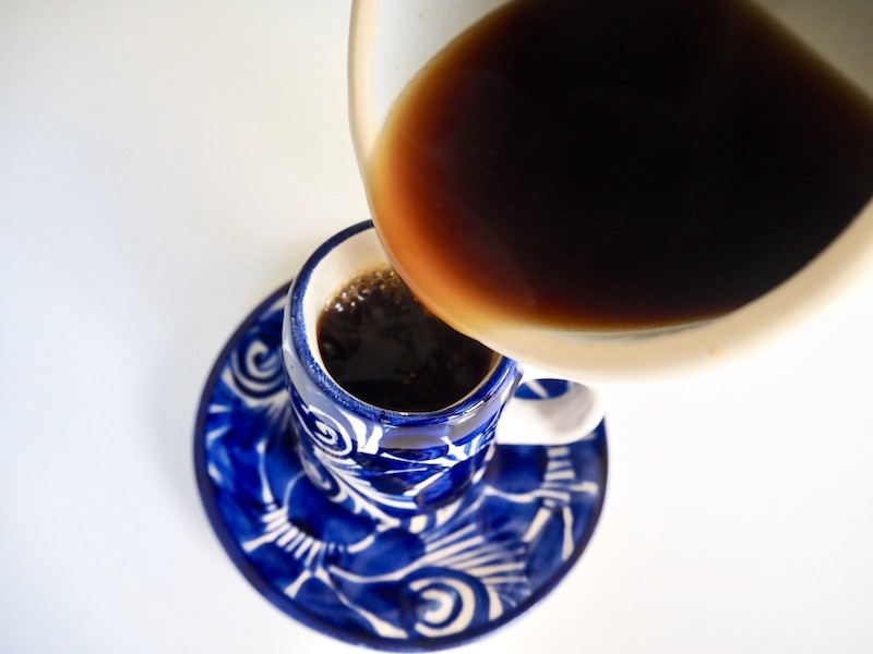 pour Keurig coffee into espresso cups