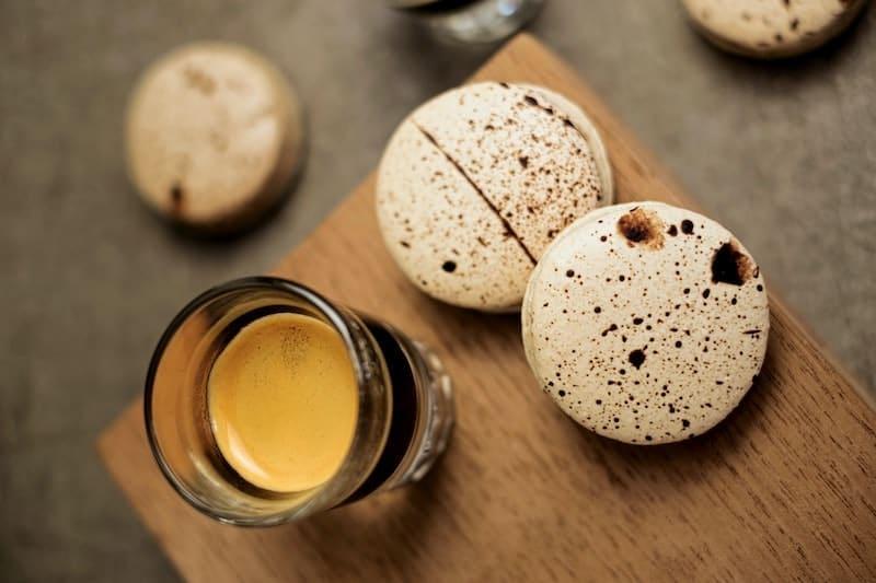 cafe gourmand espresso and macarons