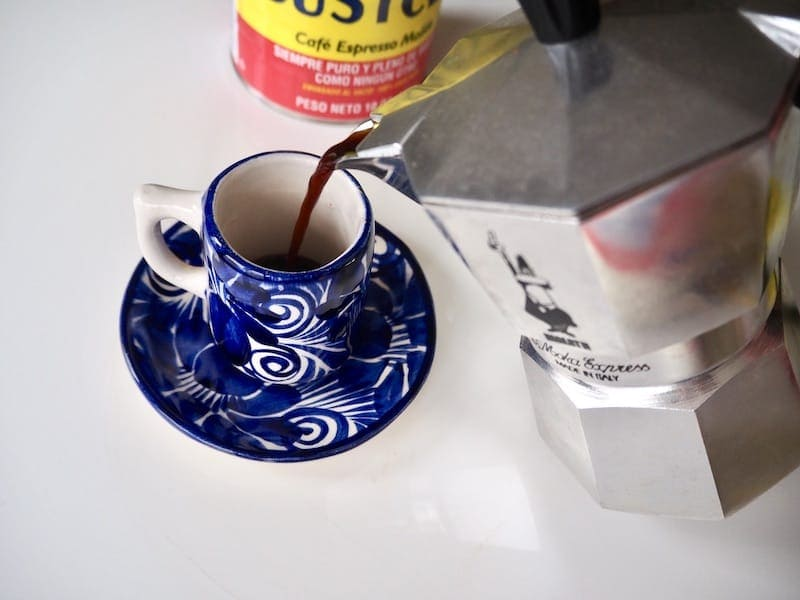 Moka pot pouring espresso
