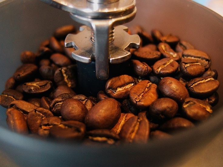 grinding coffee beans close up