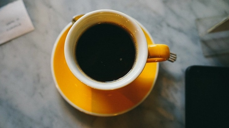 Coffee in yellow cup