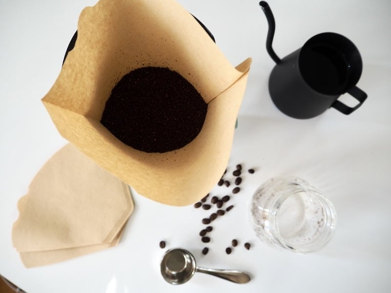 Melitta pour over with coffee grounds