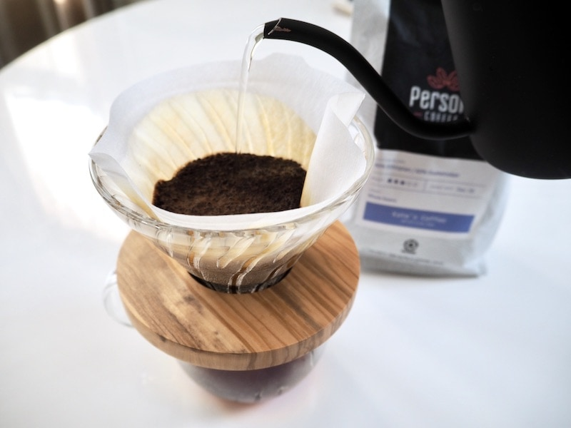 Persona Coffee blend in a pour over brewer
