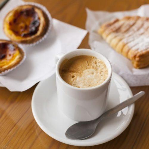 Portuguese coffee galao and pastel de nata