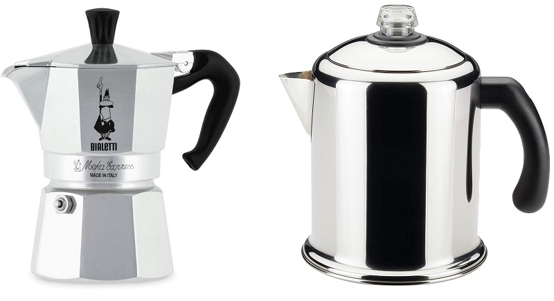 قابلمه بیالتی اکسپرس موکا ، یک فنجان ، آلومینیوم نقره ای در برابر Farberware 50124 Classic Yosemite Percolator برای قهوه فولاد ضد زنگ