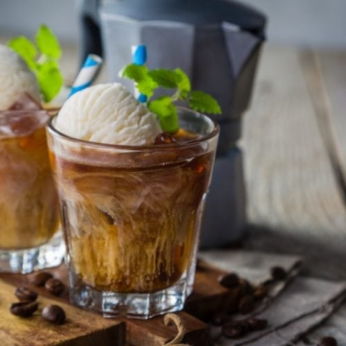 coffee punch with ice cream and mint