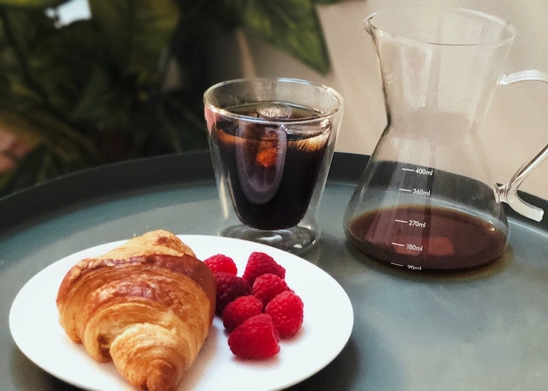 coffee wine with croissant and fruit