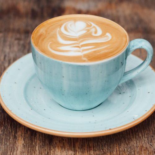 chestnut praline latte in blue cup