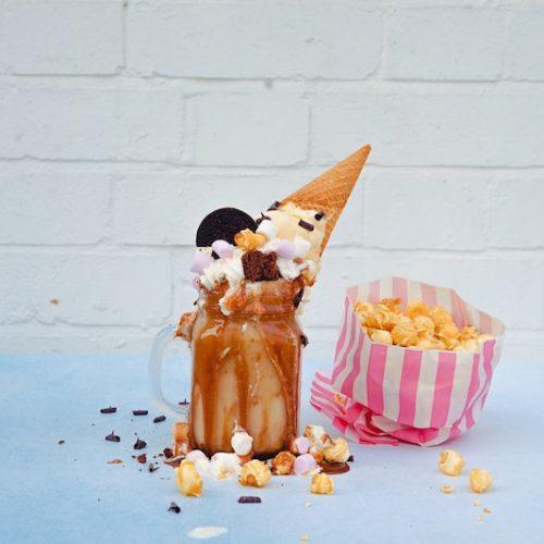freakshake coffee milkshake with ice cream and cookies