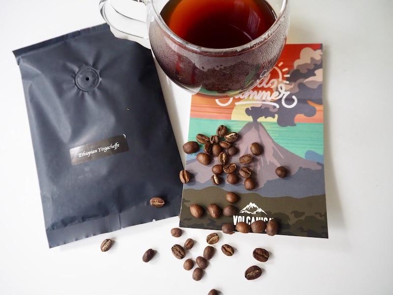 Volcanica Ethiopian Yirgacheffe coffee beans and brewed