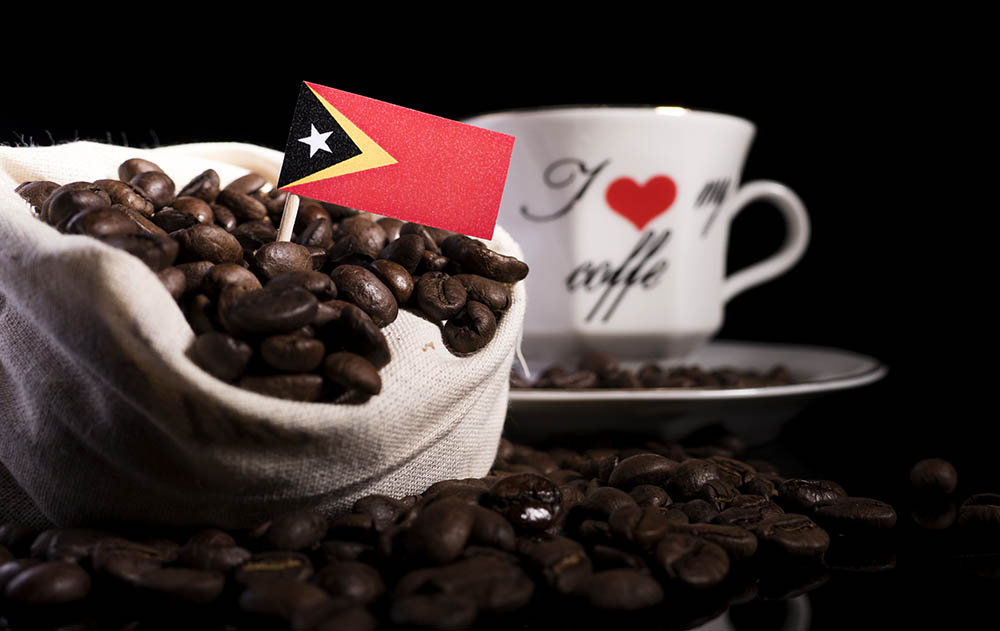 bag of coffee beans with East timor flag