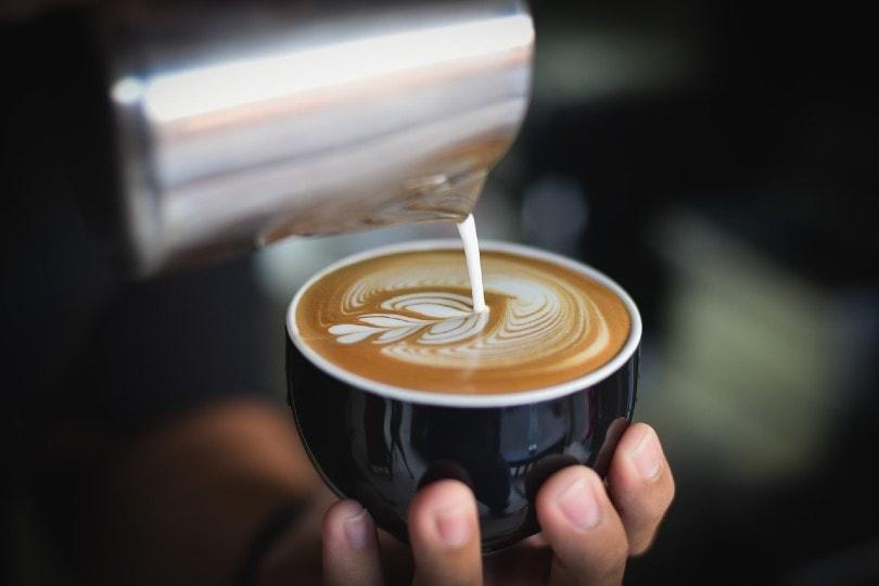 barista hands making a cafe latte in a black mug