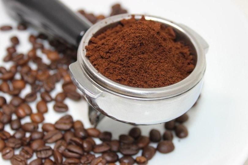 قهوه در فیلتر portafilter با زمینه سفید آسیاب می شود