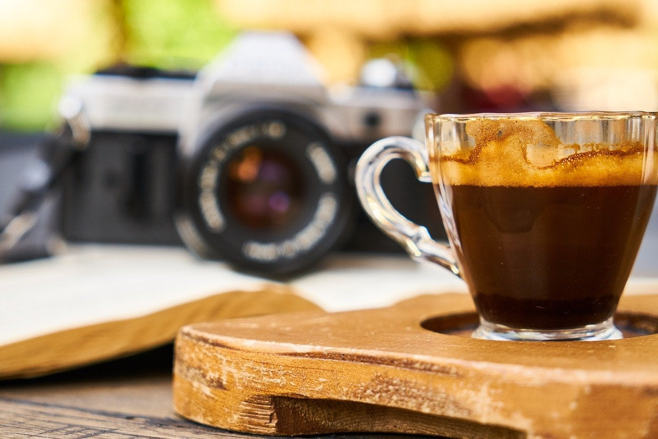 coffee with camera in the background