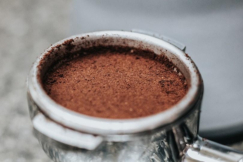 espresso powder in portafilter