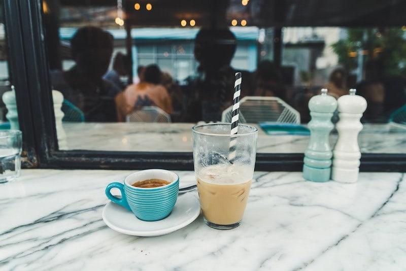 iced espresso and hot espresso