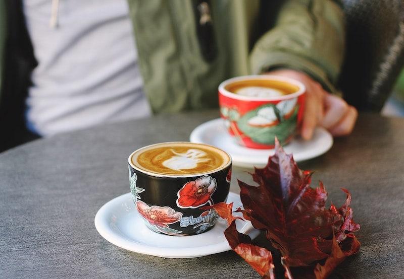 maple pecan latte with ghost latte art