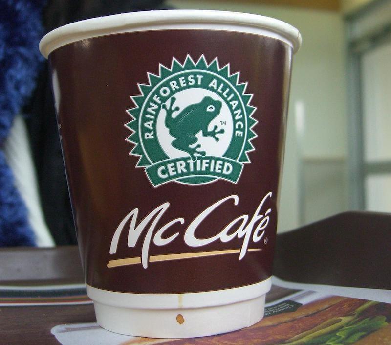 قهوه مک دونالد ، دارای گواهینامه اتحاد جنگل های بارانی