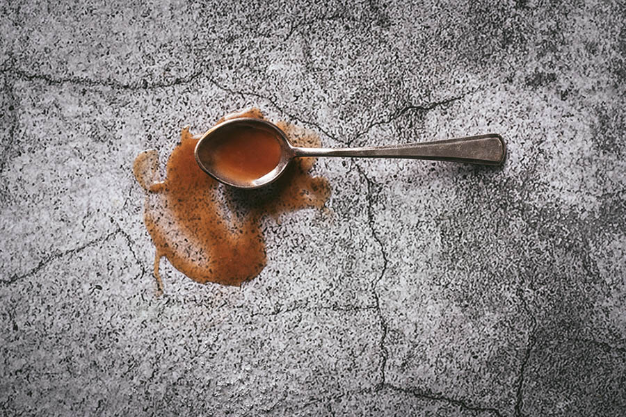 spoonful of caramel syrup