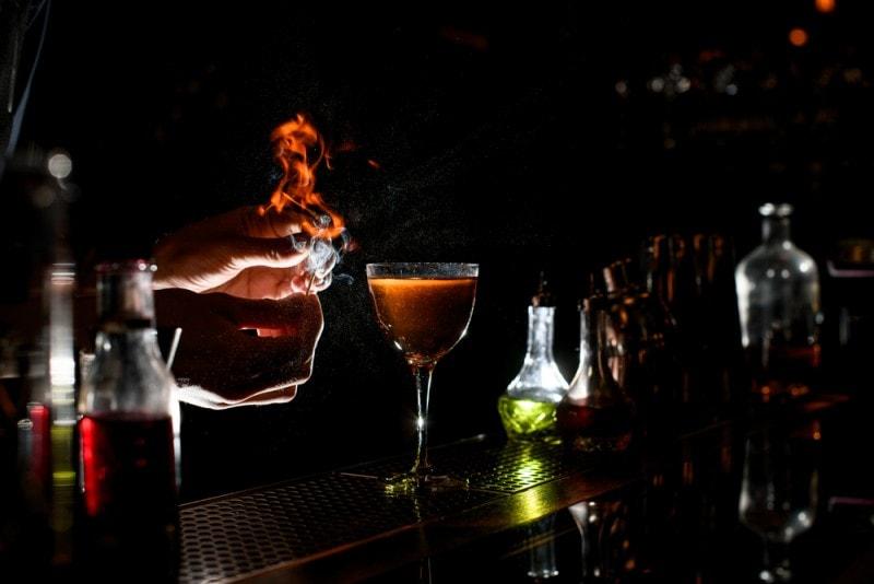 Greenlandic coffee flaming cocktail