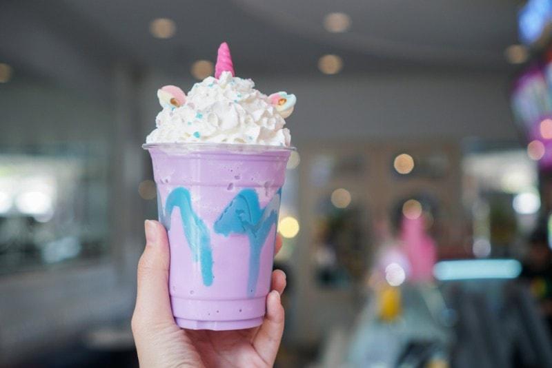 unicorn frappuccino purple blue whipped cream